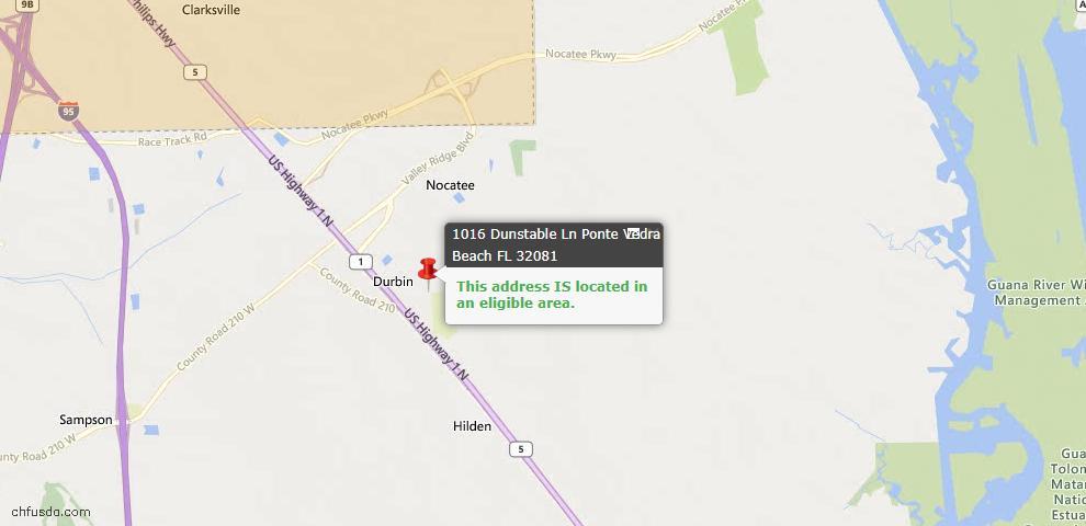 USDA Loan Eligiblity Map - 1016 Dunstable Ln, Ponte Vedra, FL 32081