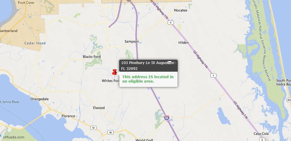 USDA Loan Eligiblity Map - 103 Pinebury Ln, St Augustine, FL 32092