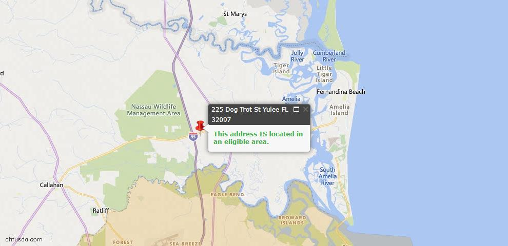 USDA Loan Eligiblity Map - 225 Dog Trot St, Yulee, FL 32097