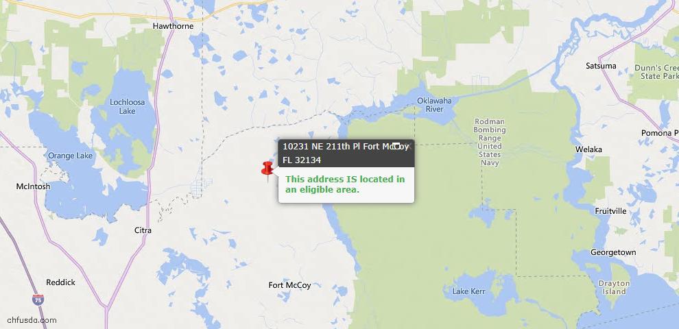 USDA Loan Eligiblity Map - 10231 NE 211th Pl, Fort Mccoy, FL 32134