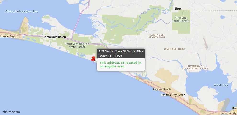 USDA Loan Eligiblity Map - 109 Santa Clara St, Santa Rosa Beach, FL 32459