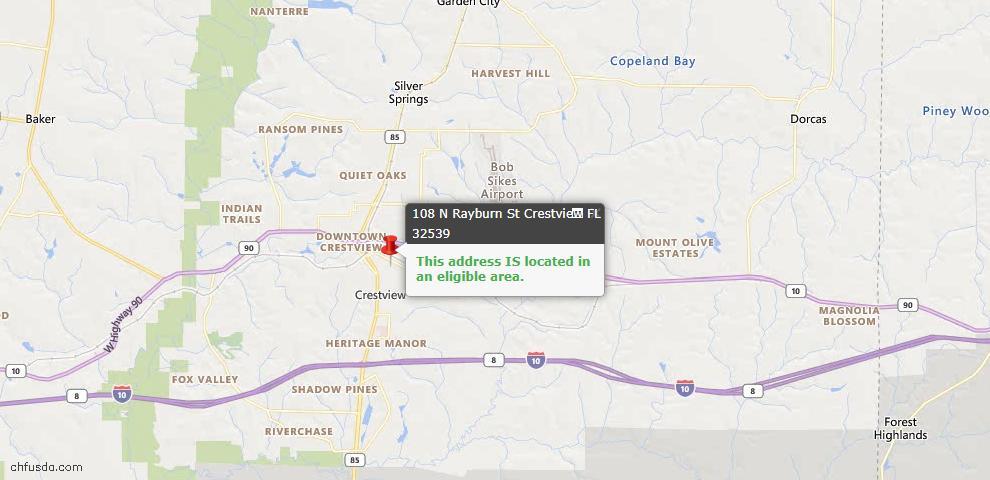 USDA Loan Eligiblity Map - 108 N Rayburn St, Crestview, FL 32539