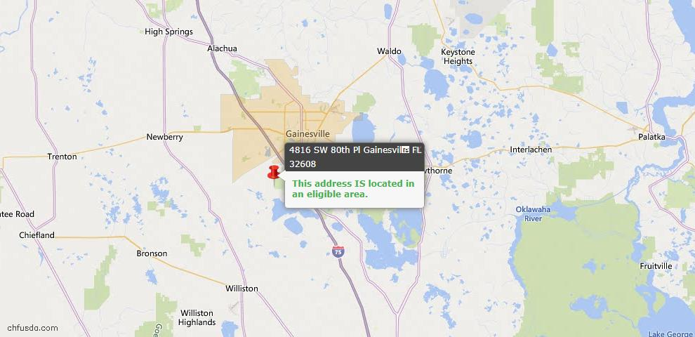 USDA Loan Eligiblity Map - 4816 SW 80 Pl, Gainesville, FL 32608