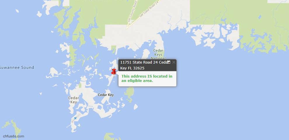USDA Loan Eligiblity Maps From - Cedar Key, FL