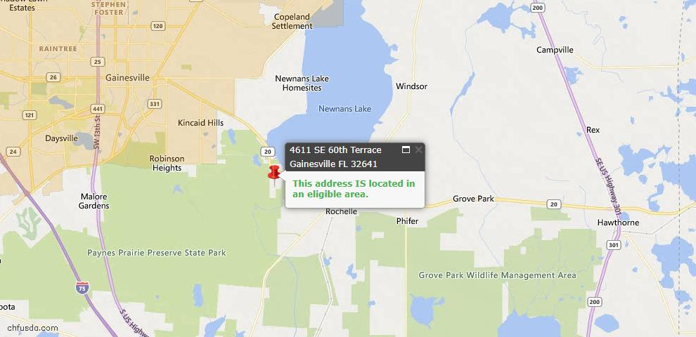 USDA Loan Eligiblity Map - 4611 SE 60th Ter, Gainesville, FL 32641