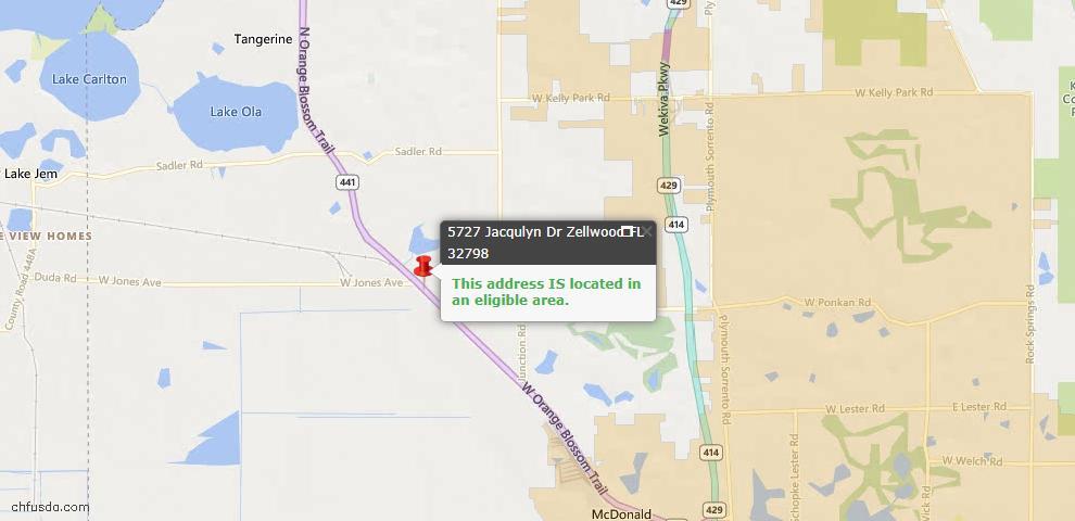 USDA Loan Eligiblity Maps From - Zellwood, FL