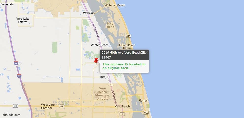 USDA Loan Eligiblity Map - 5519 40th Ave, Vero Beach, FL 32967