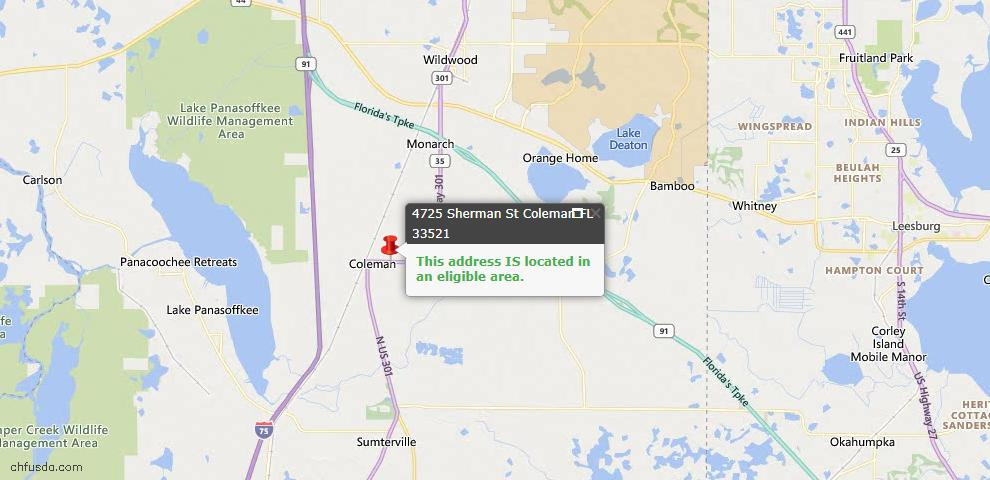USDA Loan Eligiblity Maps From - Coleman, FL