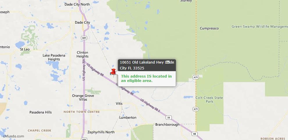 USDA Loan Eligiblity Map - 10651 Old Lakeland Hwy, Dade City, FL 33525