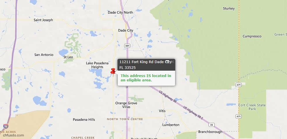 USDA Loan Eligiblity Map - 11211 Fort King Rd, Dade City, FL 33525