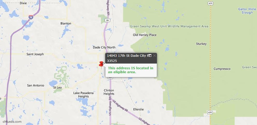 USDA Loan Eligiblity Map - 14043 17th St, Dade City, FL 33525