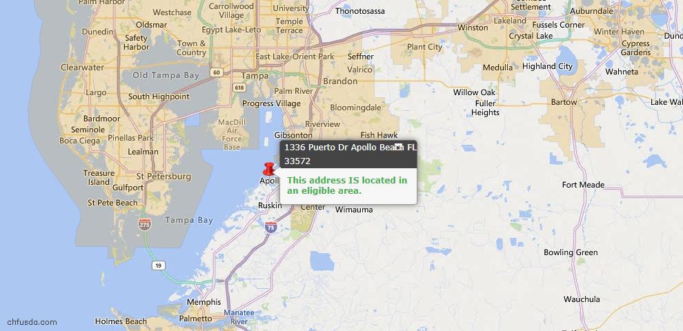 USDA Loan Eligiblity Map - 1336 Puerto Dr, Apollo Beach, FL 33572