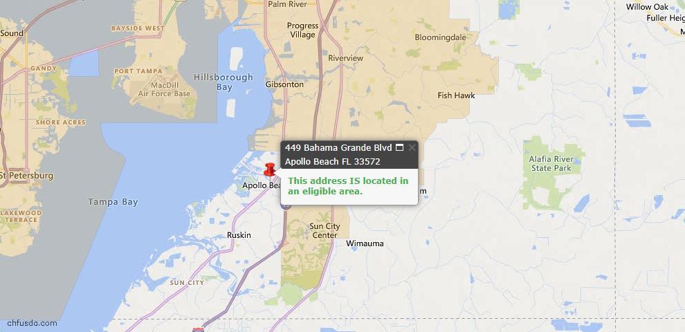 USDA Loan Eligiblity Map - 449 Bahama Grande Blvd, Apollo Beach, FL 33572