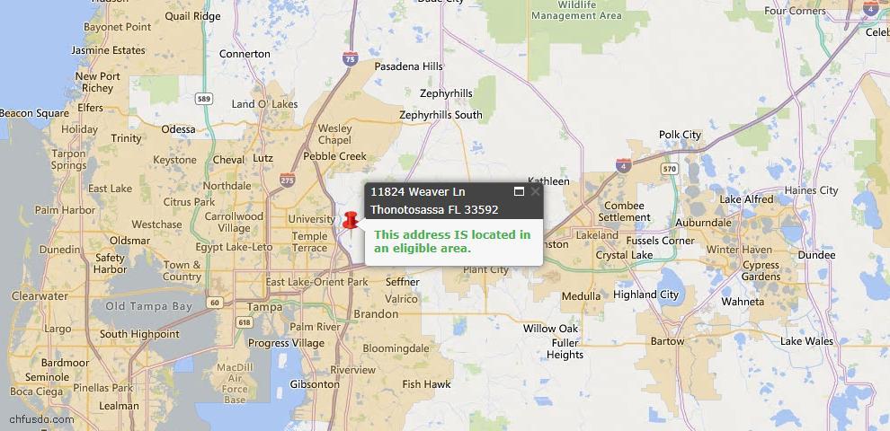 USDA Loan Eligiblity Map - 11824 Weaver Ln, Thonotosassa, FL 33592