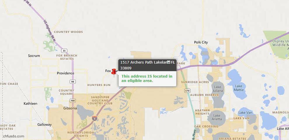 USDA Loan Eligiblity Map - 1517 Archers Path, Lakeland, FL 33809