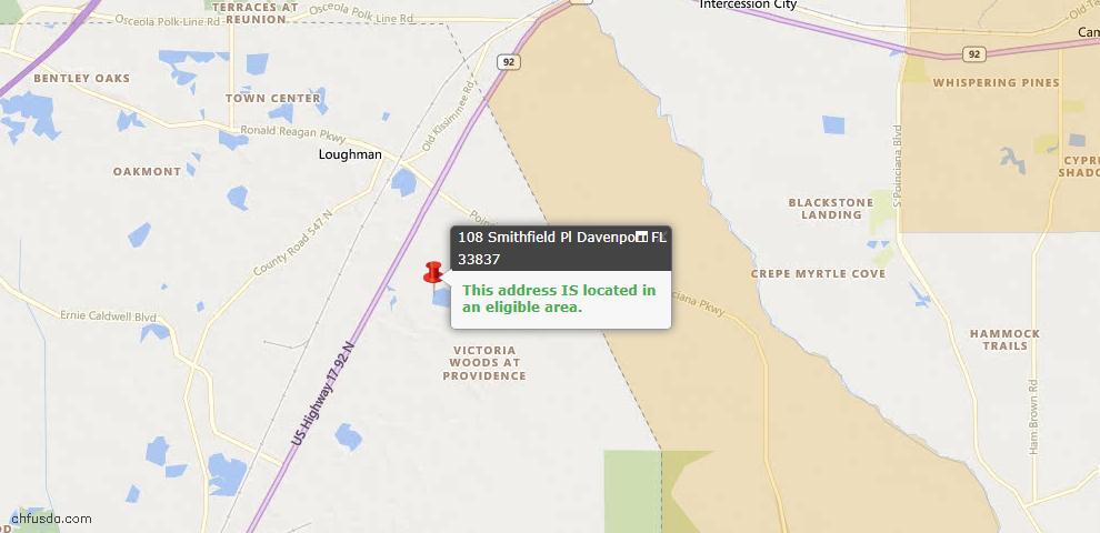 USDA Loan Eligiblity Map - 108 Smithfield Pl, Davenport, FL 33837
