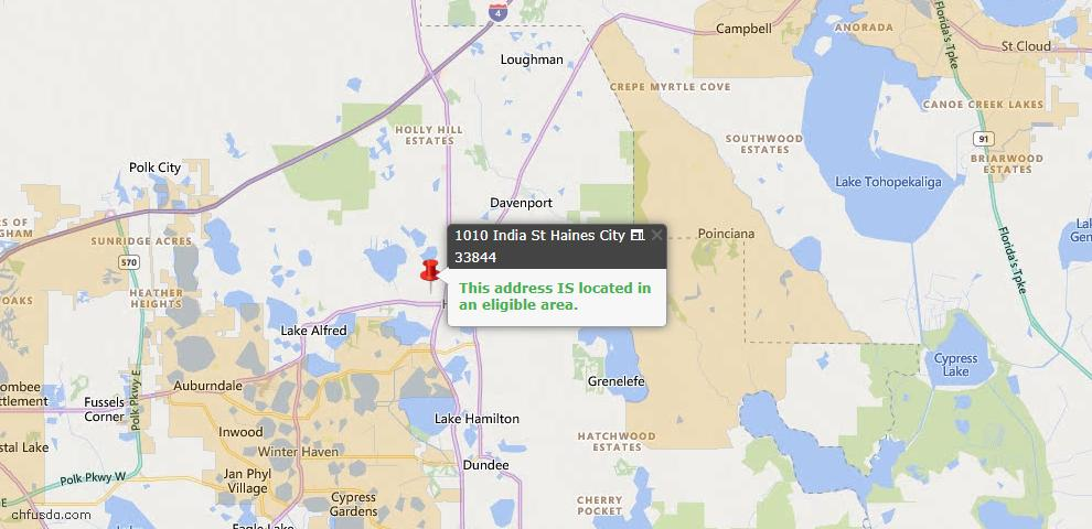 USDA Loan Eligiblity Map - 1010 India St, Haines City, FL 33844
