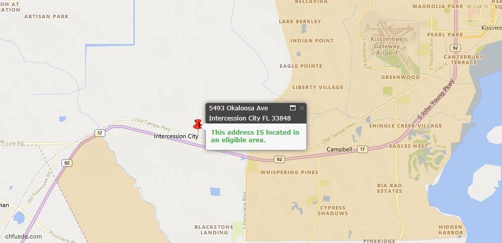 USDA Loan Eligiblity Maps From - Intercession City, FL