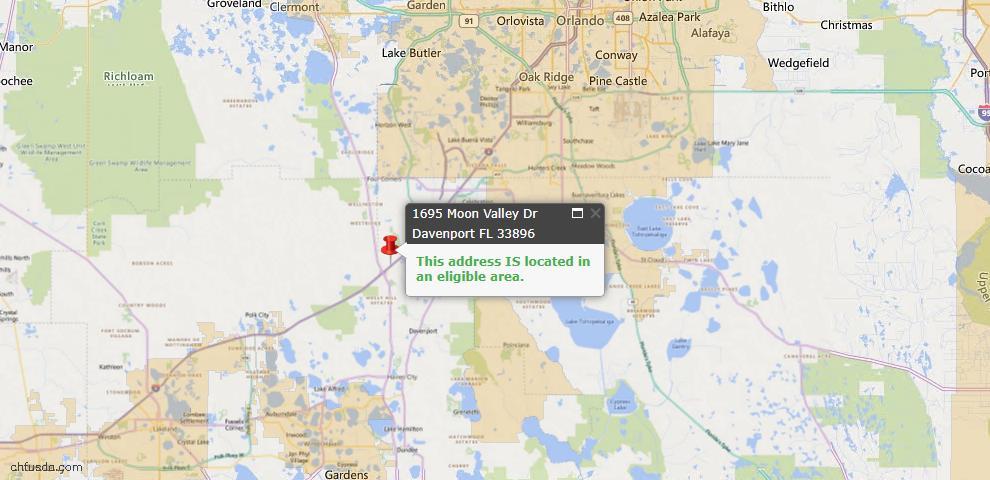 USDA Loan Eligiblity Map - 1695 Moon Valley Dr, Davenport, FL 33896