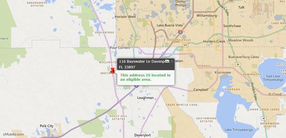 USDA Loan Eligiblity Map - 116 Bayswater Ln, Davenport, FL 33897