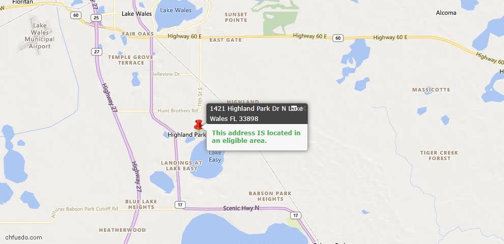 USDA Loan Eligiblity Map - 1421 Highland Park Dr N, Lake Wales, FL 33898