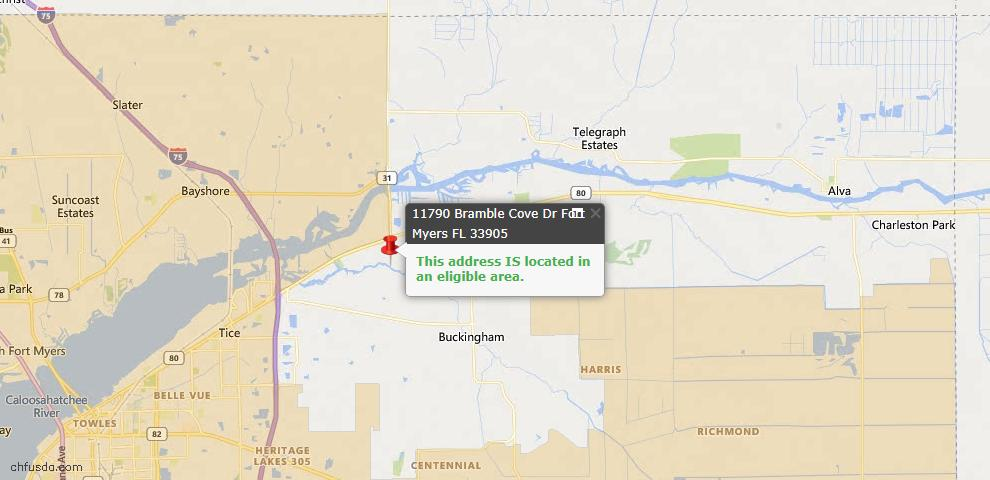 USDA Loan Eligiblity Map - 11790 Bramble Cove Dr, Fort Myers, FL 33905