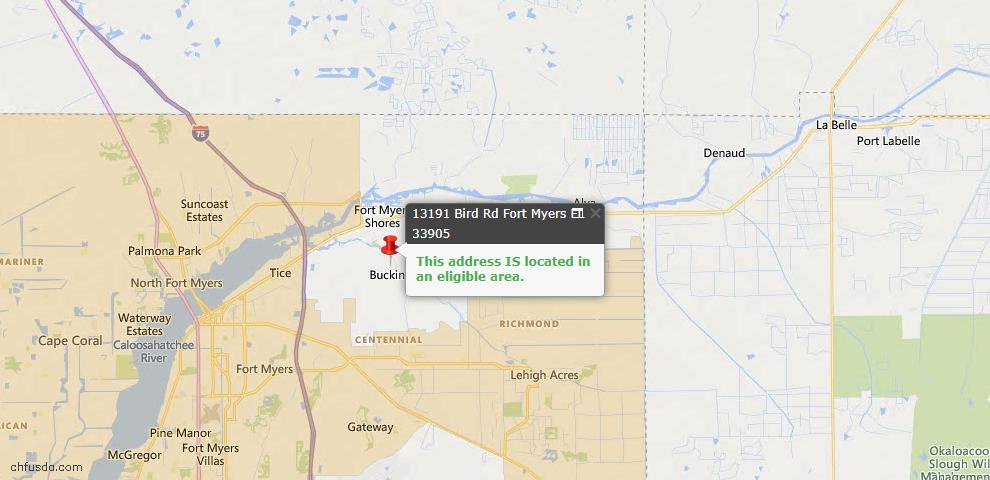 USDA Loan Eligiblity Map - 13191 Bird Rd, Fort Myers, FL 33905