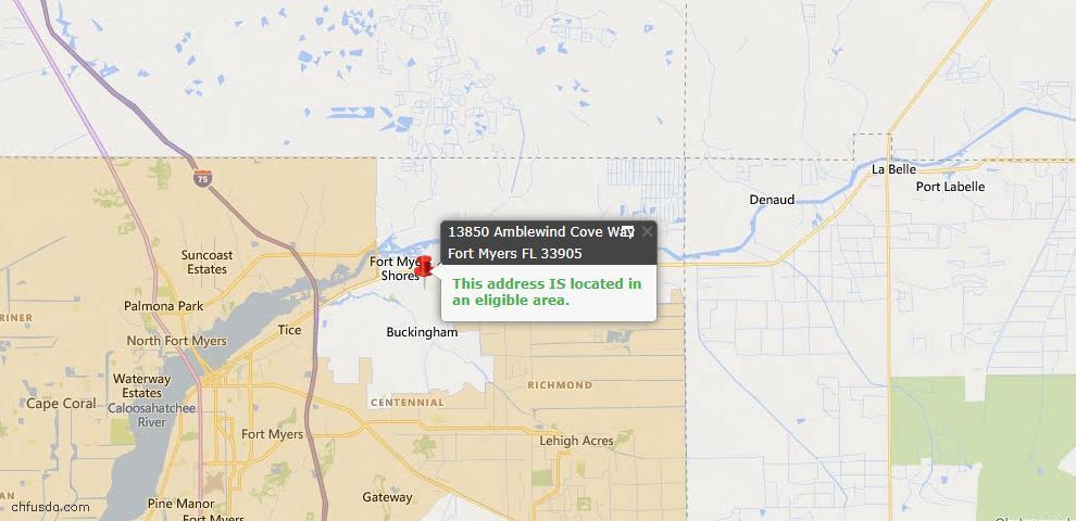 USDA Loan Eligiblity Map - 13850 Amblewind Cove Way, Fort Myers, FL 33905