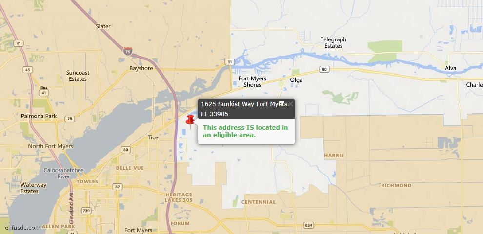 USDA Loan Eligiblity Map - 1625 Sunkist Way, Fort Myers, FL 33905