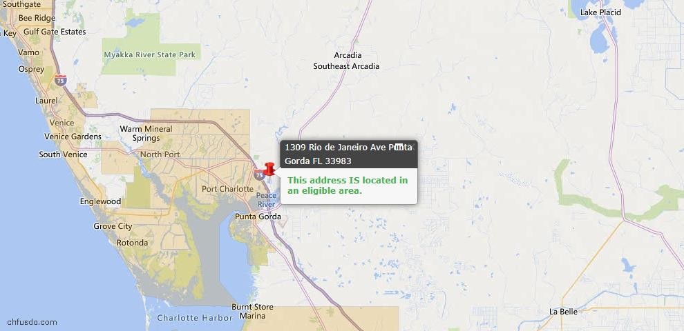 USDA Loan Eligiblity Map - 1309 Rio DE Janeiro Ave, Punta Gorda, FL 33983