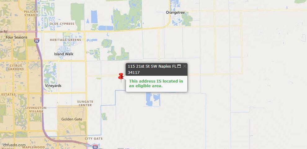 USDA Loan Eligiblity Map - 115 21st St SW, Naples, FL 34117