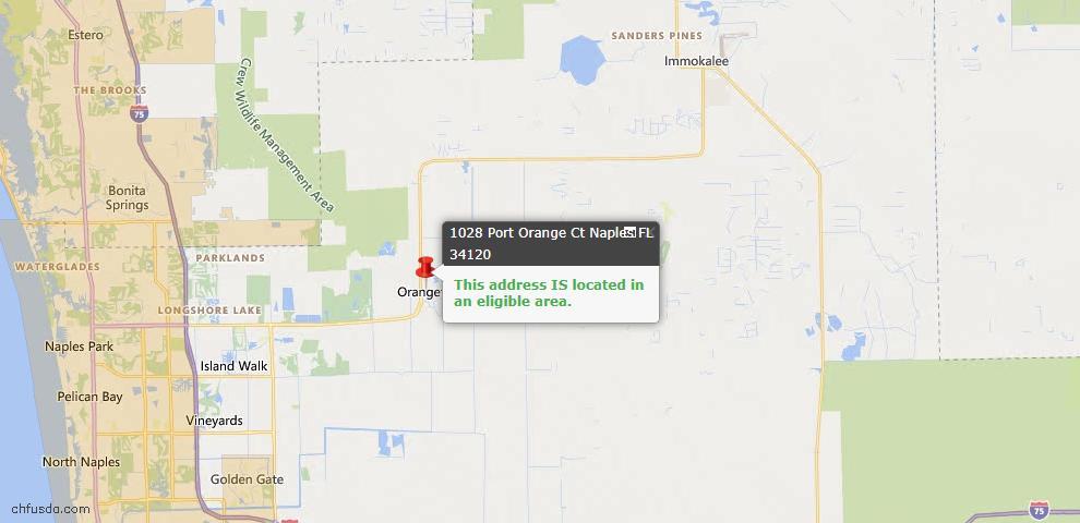 USDA Loan Eligiblity Map - 1028 Port Orange Ct, Naples, FL 34120