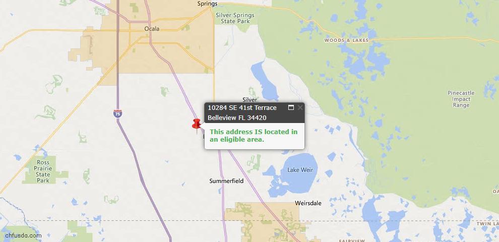 USDA Loan Eligiblity Map - 10284 SE 41st Ter, Belleview, FL 34420