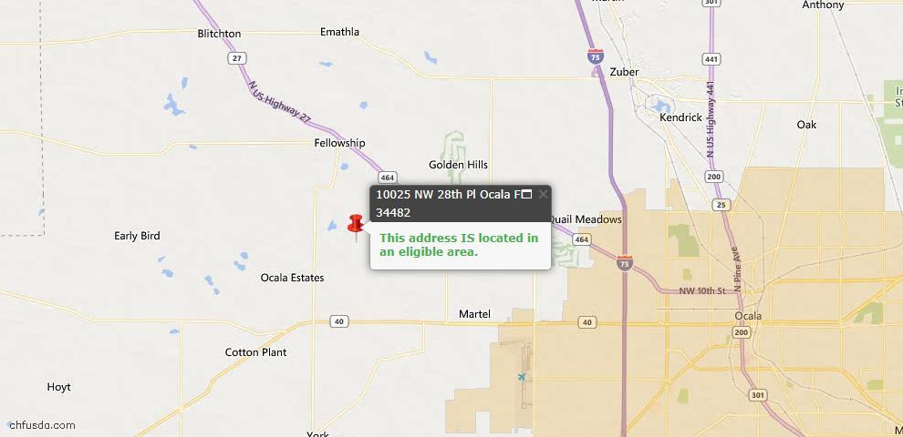 USDA Loan Eligiblity Map - 10025 NW 28th Pl, Ocala, FL 34482