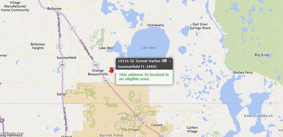 USDA Loan Eligiblity Map - 10316 SE Sunset Harbor Rd, Summerfield, FL 34491