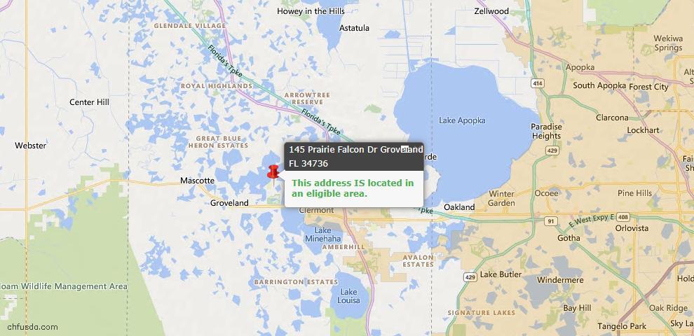 USDA Loan Eligiblity Map - 145 Prairie Falcon Dr, Groveland, FL 34736