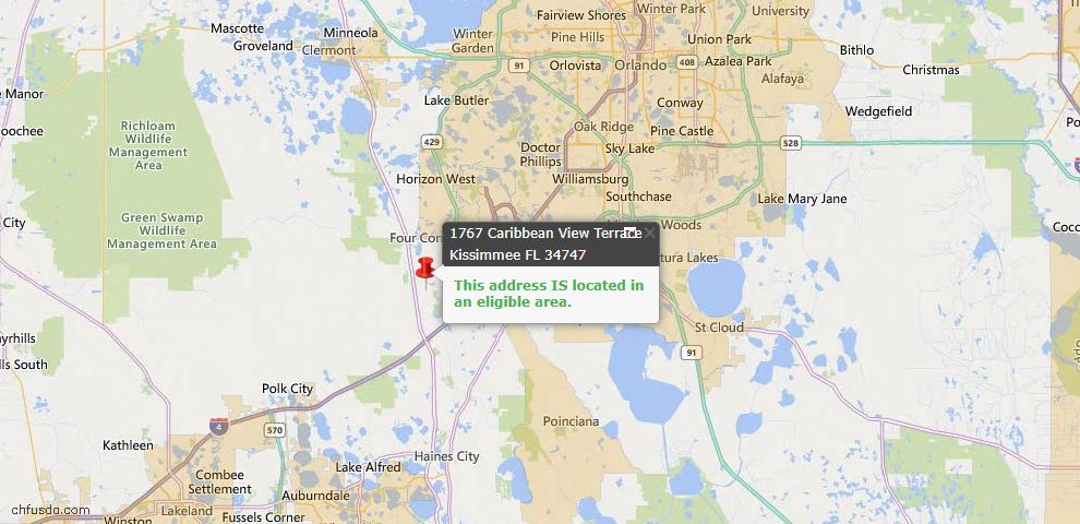 USDA Loan Eligiblity Map - 1767 Caribbean View Ter, Kissimmee, FL 34747