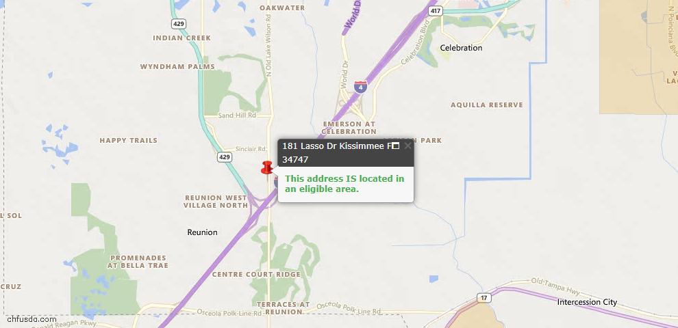 USDA Loan Eligiblity Map - 181 Lasso Dr, Kissimmee, FL 34747