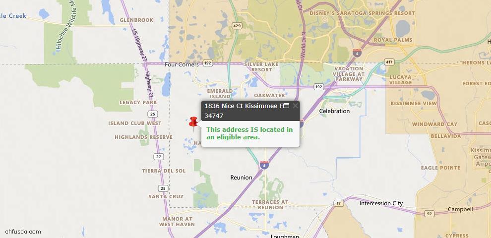 USDA Loan Eligiblity Map - 1836 Nice Ct, Kissimmee, FL 34747