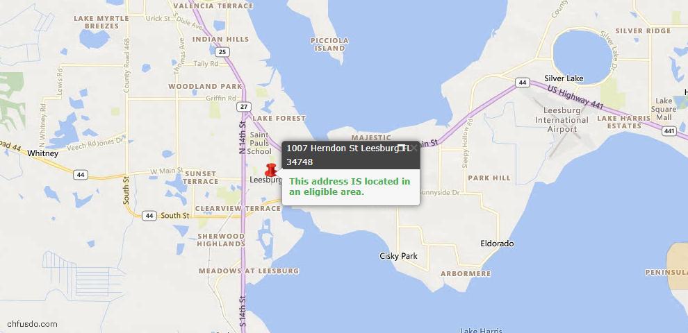 USDA Loan Eligiblity Map - 1007 Herndon St, Leesburg, FL 34748