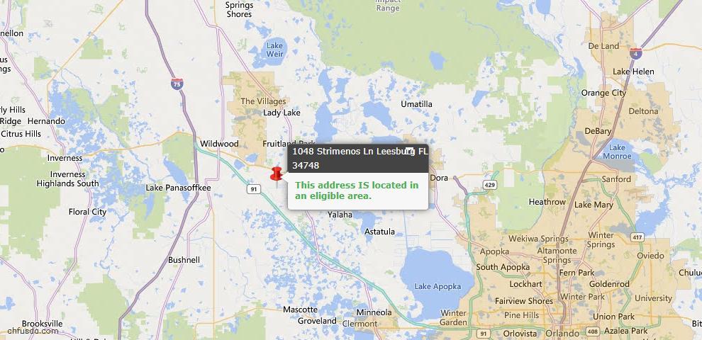 USDA Loan Eligiblity Map - 1048 Strimenos Ln, Leesburg, FL 34748