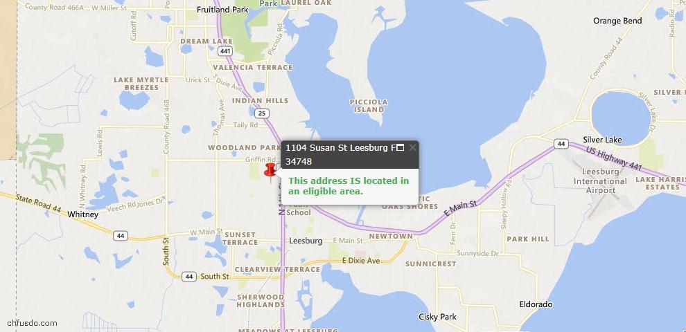 USDA Loan Eligiblity Map - 1104 Susan St, Leesburg, FL 34748