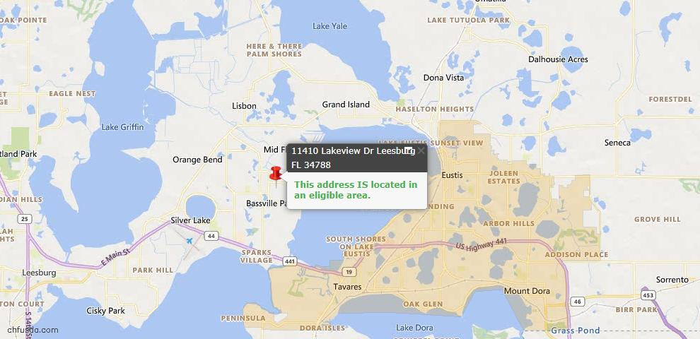 USDA Loan Eligiblity Map - 11410 Lakeview Dr, Leesburg, FL 34788