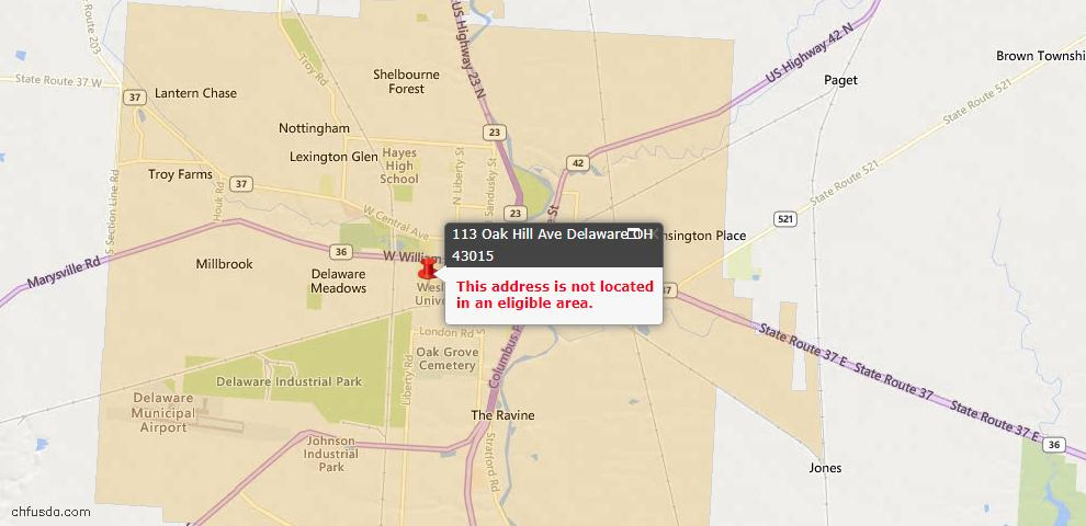 USDA Loan Eligiblity Map - 113 Oak Hill Ave, Delaware, OH 43015