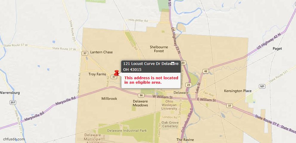 USDA Loan Eligiblity Map - 121 Locust Curve Dr, Delaware, OH 43015
