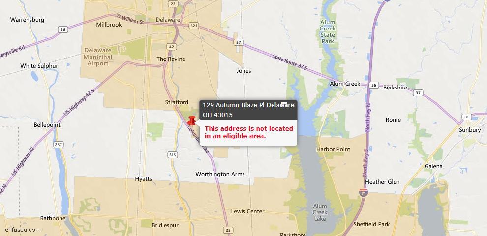 USDA Loan Eligiblity Map - 129 Autumn Blaze Pl, Delaware, OH 43015