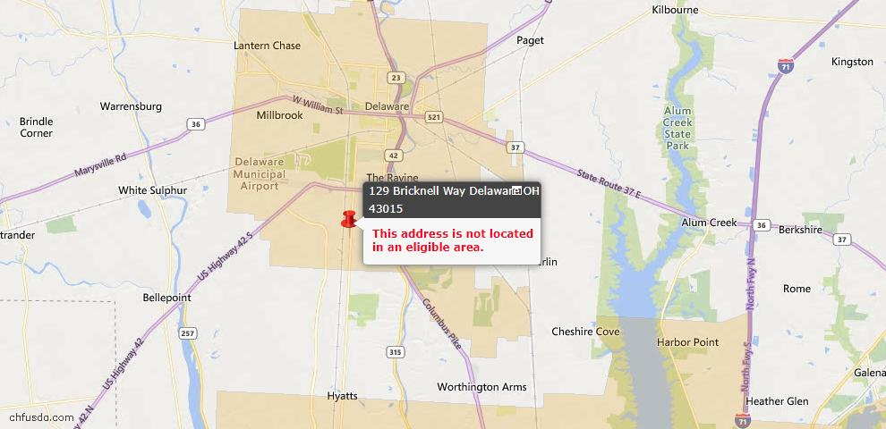 USDA Loan Eligiblity Map - 129 Bricknell Way, Delaware, OH 43015