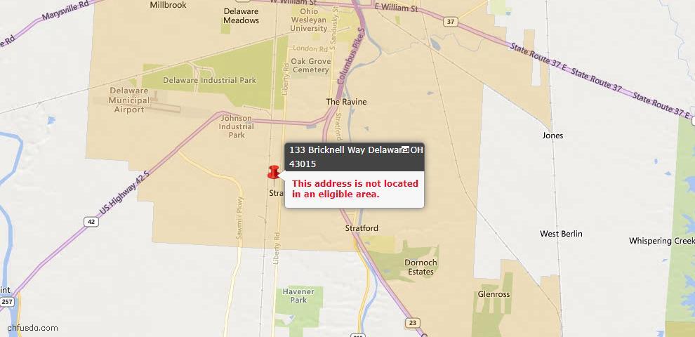 USDA Loan Eligiblity Map - 133 Bricknell Way, Delaware, OH 43015