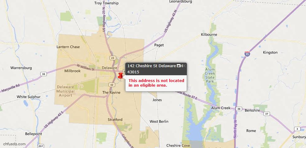 USDA Loan Eligiblity Map - 142 Cheshire St, Delaware, OH 43015