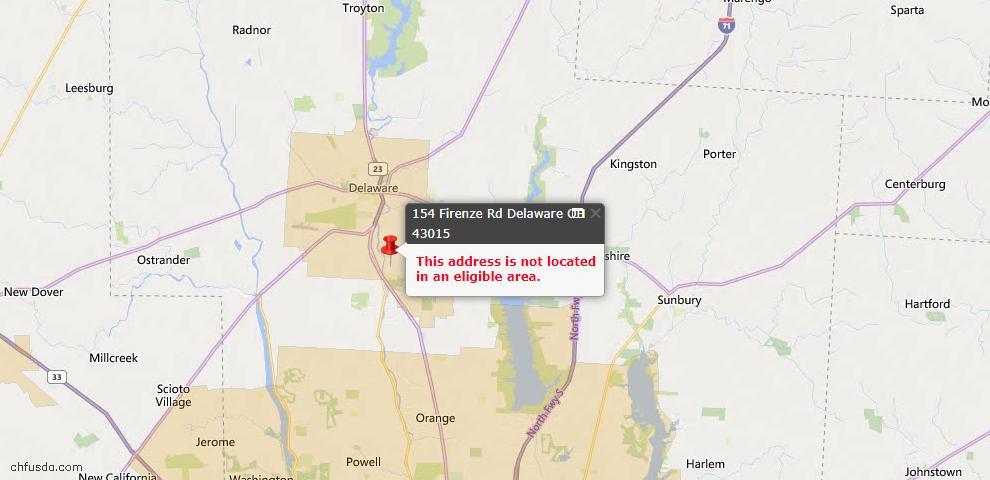 USDA Loan Eligiblity Map - 154 Firenze Rd, Delaware, OH 43015